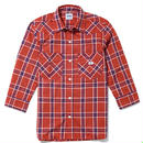 【Lee】LADIES WESTERN CHECK SHIRTS(Red×Navy)/レディース ウエスタン チェック 七分袖シャツ(レッド×ネイビー)