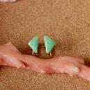天然クリソプレーズイヤリング☆原石から磨きました