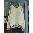 """L.L.Bean"" wool knit sweater バーズアイ ホワイト ノルウェー製 表記L"