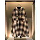 90s oversized shadow plaid shirt ブラック/ホワイト 表記3XL モンゴル製