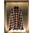 "90s ""TOMMY HILFIGER"" L/S rayon shadow plaid shirt レッド 表記L"