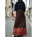 vintage poly design maxi skirt ブラウン カナダ製