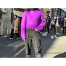 vintage short length wool blend knit sweater パープル 表記M
