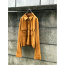 90s suede leather short length jacket ブラウン
