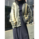 vintage mohair blend knit cardigan ホワイト×グレー