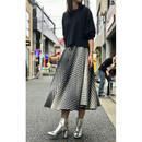 vintage wool circular maxi skirt ブラック/ホワイト