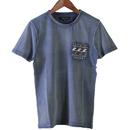 メンズポケットコンチョ付き波柄Tシャツ