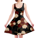 Chrysanthemum and Peony Skater Dress