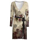 Flower and Butterfly design Wrap Dress