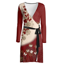 Japanese style Flower and Butterfly emblem art Wrap Dress