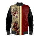 Flower and butterfly emblem art Ladies Bomber Jacket