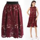 ワインのバロックのかぎ針編みスカート