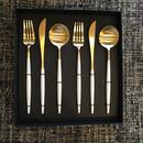 クチポールGOA 白×金 テーブルスプーン・ディナーフォーク・ディナーナイフセット