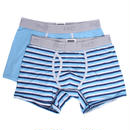 PACT(パクト)2枚組 MEN'S-BOXER BRIEF 2P-SHADOW BLUE/BLUE STRIPE