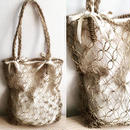 Rush grass net&hand woven natural cotton bag