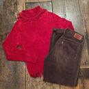 [USED] フリンジ付き真っ赤なタートルセーター