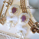 ビーズ刺繍 チュール×パール white ピアスorイヤリング    #25