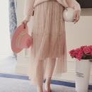 ベルベット レイヤードプリーツスカート4色 118