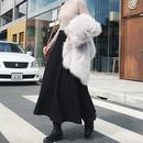 秋シンプルブラックAラインミモレ丈スカート S-XL