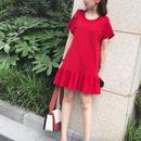 赤ワンピース 半袖 フィッシュテール リボンS-XL 118