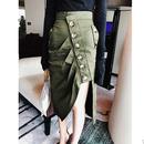 EC 秋夏カーキスリットボタンタイトスカート