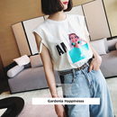 EC 袖リメイクポンポン付きプリントTシャツ 2色