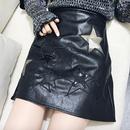 【在庫限り】スター星柄フェイクレザーミニスカートペチコートパンツ付