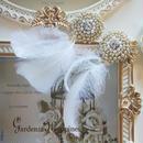 silver刺繍bijou×ホワイトフェザー ピアスorイヤリング #20