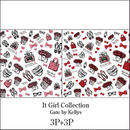 【6枚セット】It Girl Collection転写紙/2色6枚セット★レッド&ピンク各3枚ずつ