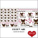 【セット割引★6枚セット】PUPPY MIU転写紙/フェイス3枚&パターン3枚/チョコ×クリーム