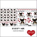 【セット割引★4枚セット】PUPPY MIU転写紙/フェイス2枚&パターン2枚/ブラック×シナモン