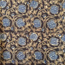 木版更紗#022(アジュラック、蓮、黒)