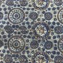 木版更紗#033(アジュラック、丸模様、藍)