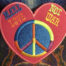 Heart shape make love not war iron on patch