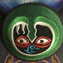 Om  eyes green psychedelic iron on patch