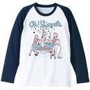 Oh!Sharels / ラグラン・ロンTee(W×ネイビー)