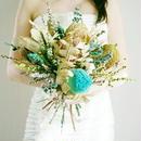 『結婚式に プリザーブド ワイルドフラワー ブーケ  クラッチ  サムシングブルー blue1013』青い花 ブートニア付き