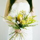 『大人が持ってもかわいい 黄色のブーケ クラッチyellow1007』プリザーブド ドライフラワー ブートニア付き