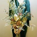 『ディスプレイ 祝い花 ギフトnatural beige.122しゃれで珍しいプリザーブドフラワーやドライフラワーのシックな花束