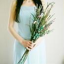 『青いお花やパープルの小花ブーケ  縦長 クラッチ blue&purple1010 』 ブートニア付き