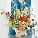 『ざっくり束ねたプリザーブドフラワーの花束red&green015』結婚式の両親贈呈用花束やギフトにも