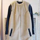 SHIROMA 15-16A/W ghost nocollar fur coat -beige-