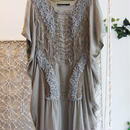 SHIROMA 16-17A/W DARK AGES silk square dress -khaki-
