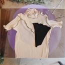 kotohayokozawa pleats tops -high neck elbow length sleeve-