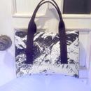 SHIROMA 15S/S PRIMITIVE ACTION paint tote bag -black×white-
