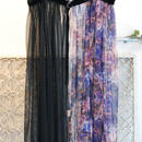 SHIROMA 15-16A/W ghost graphic tulle wrap skirt -black-