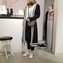 bicolor knit long cardigan