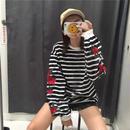 ローズ刺繍ボーダーシャツ ブラック