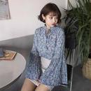 小花柄シフォンシャツ ブルー
