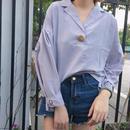 ビッグボタンシンプルシャツ ブルー